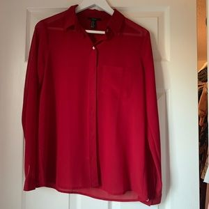 Red long sleeve button up